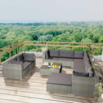 HuberXXL 10-tlg. Garten-Lounge-Set mit Auflagen Poly Rattan Grau