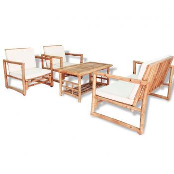 HuberXXL 4-tlg. Garten-Lounge-Set mit Auflagen Bambus