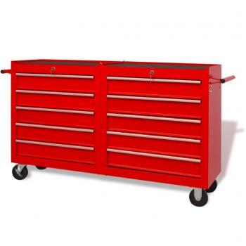HuberXXL Werkstattwagen mit 10 Schubladen XXL Stahl Rot