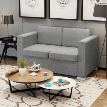 HuberXXL 2-Sitzer Sofa Stoff Hellgrau