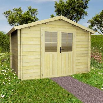 HuberXXL 28 mm 3,1 x 3 m Gartenhaus Blockhaus Massivholz