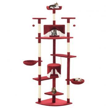 HuberXXL Katzen-Kratzbaum mit Sisal-Kratzsäulen 203 cm Rot und Weiß
