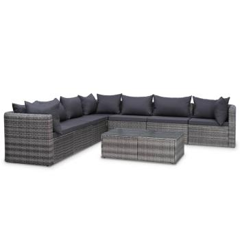 HuberXXL 8-tlg. Garten-Lounge-Set mit Auflagen Poly Rattan Grau