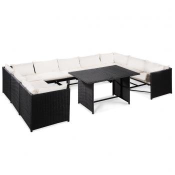 HuberXXL 10-tlg. Garten-Lounge-Set mit Auflagen Poly Rattan Schwarz