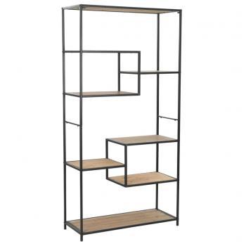 HuberXXL Bücherregal aus massivem Tannenholz und Stahl 90,5x35x180 cm