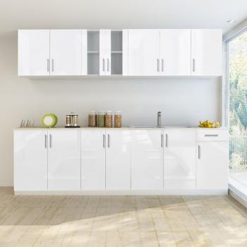 HuberXXL 8-tlg. Küchenzeile Hochglanz Weiß 260 cm