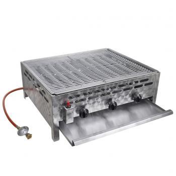 HuberXXL Gastro-Gasgrill BBQ Bräter 3 Brenner Edelstahl