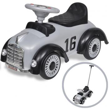 Graues Retro Kinder-Aufsitz-Auto mit Schubstange