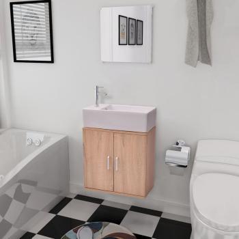 HuberXXL Dreiteiliges Badmöbel-Set mit Waschbecken Beige
