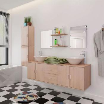 HuberXXL 9-tlg. Badmöbel und Waschbecken Set Beige