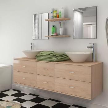 HuberXXL 9-tlg. Badmöbel-Set mit Waschbecken und Wasserhahn Beige