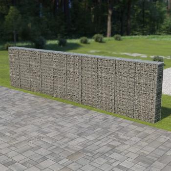 HuberXXL Gabionenwand mit Abdeckung Verzinkter Stahl 600×30×150 cm