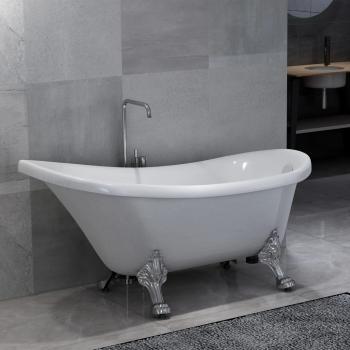 HuberXXL Freistehende Badewanne mit Löwenfüßen Weiß Acryl