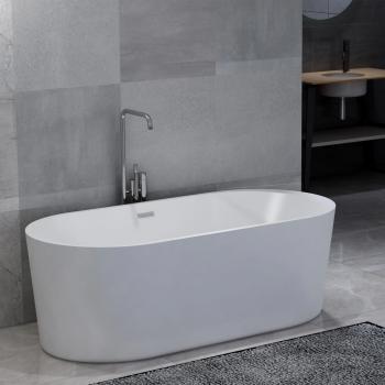 HuberXXL Freistehende Badewanne Weiß Acryl 204 L