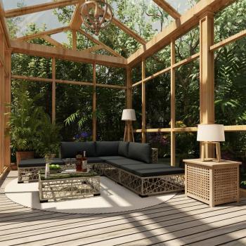 HuberXXL 6-tlg. Garten-Lounge-Set mit Auflagen Poly Rattan Grau