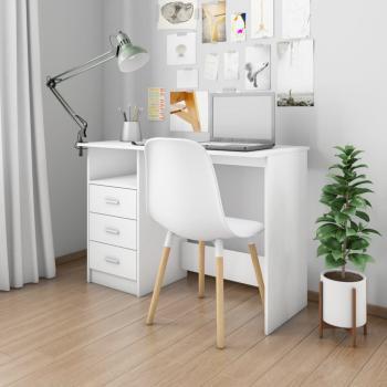 HuberXXL Schreibtisch mit Schubladen Weiß 110×50×76 cm Spanplatte