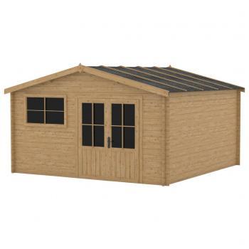 HuberXXL Blockhaus mit Fenster 28 mm 400x400 cm Holz