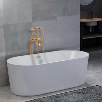HuberXXL Freistehende Badewanne und Wasserhahn 204 L 99,5 cm Golden