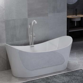 HuberXXL Freistehende Badewanne und Wasserhahn 204 L 118,5 cm Silbern