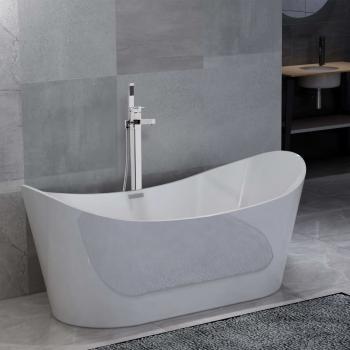 HuberXXL Freistehende Badewanne und Wasserhahn 204 L 110 cm Silbern