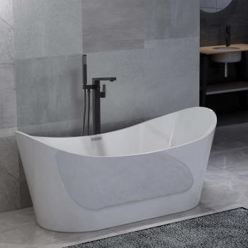HuberXXL Freistehende Badewanne und Wasserhahn 204 L 90 cm Schwarz