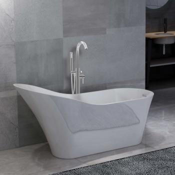 HuberXXL Freistehende Badewanne und Wasserhahn 210 L 118,5 cm Silbern