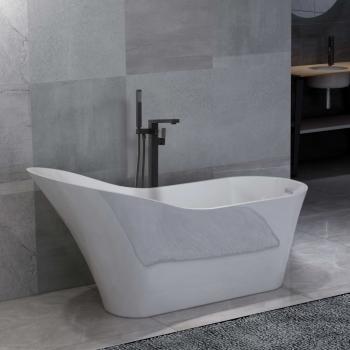 HuberXXL Freistehende Badewanne und Wasserhahn 210 L 90 cm Schwarz