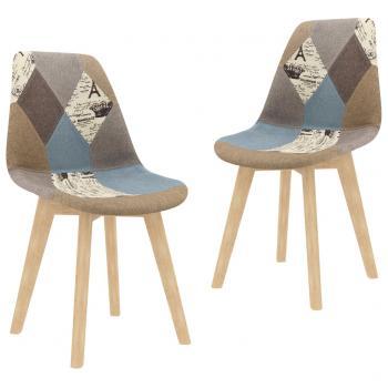 Esszimmerstühle 2 Stk. Patchwork-Design Grau Stoff
