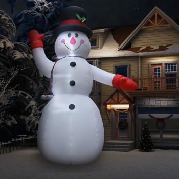 HuberXXL Aufblasbarer Schneemann mit LED zu Weihnachten IP44 600 cm XXL