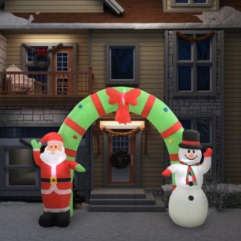 HuberXXL Aufblasbarer Weihnachtsmann und Schneemann Deko Bogen LED 280cm