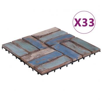 HuberXXL Terrassenfliesen 33 Stk. 30x30 cm Recyceltes Massivholz