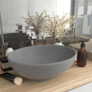 HuberXXL Luxuriöses Ovales Waschbecken Matt Hellgrau 40x33 cm Keramik