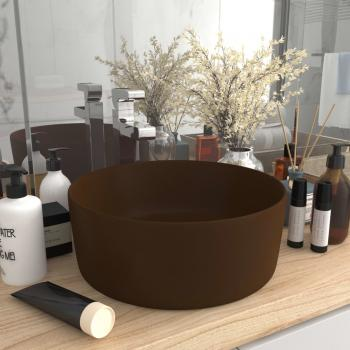 HuberXXL Luxuriöses Waschbecken Rund Matt Dunkelbraun 40x15 cm Keramik