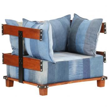 Sessel 80x67x62 cm Jeansstoff und Mango-Massivholz