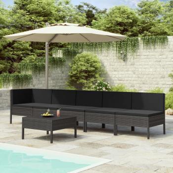 HuberXXL 6-tlg. Garten-Lounge-Set mit Auflagen Poly Rattan Schwarz