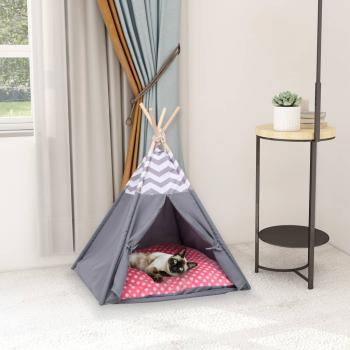 Katzen-Tipi-Zelt mit Tasche Pfirsichhaut Grau 60x60x70 cm