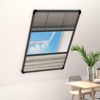 Insektenschutz-Plissee für Fenster Alu 110x160 cm mit Jalousie