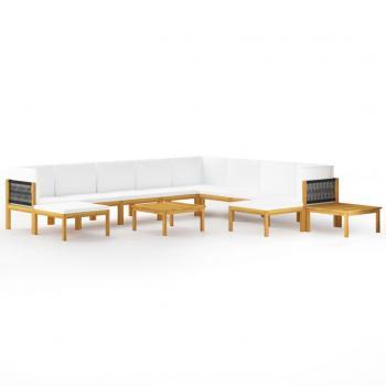 12-tlg. Garten-Lounge-Set mit Kissen Cremeweiß Massivholz Akazie