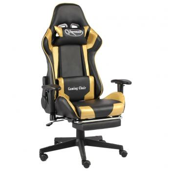 Gaming-Stuhl mit Fußstütze Drehbar Golden PVC