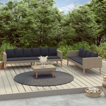 3-tlg. Garten-Lounge-Set mit Auflagen Poly Rattan Beige