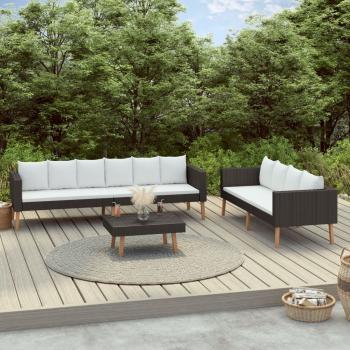 3-tlg. Garten-Lounge-Set mit Auflagen Poly Rattan Schwarz