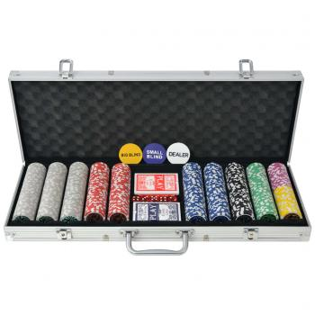 HuberXXL Poker Set mit 500 Laserchips Aluminium