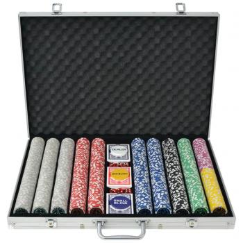 HuberXXL Poker Set mit 1.000 Laserchips Aluminium
