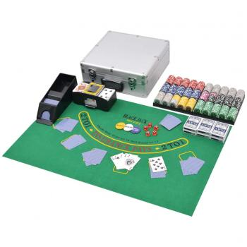HuberXXL Kombiniertes Poker/Blackjack Set mit 600 Laserchips Aluminium